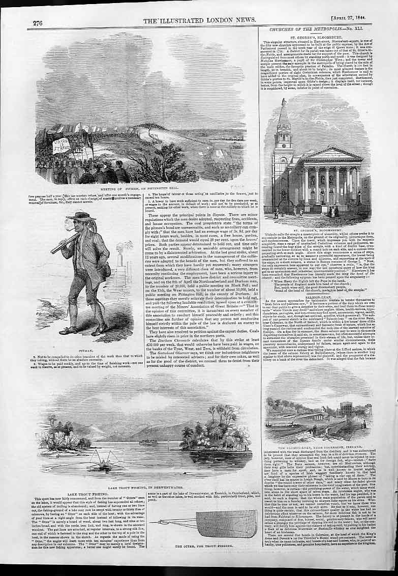 Print Lake Trout Fishing Derwentwater With Otter Board 1844 76Aaa0 Old Original