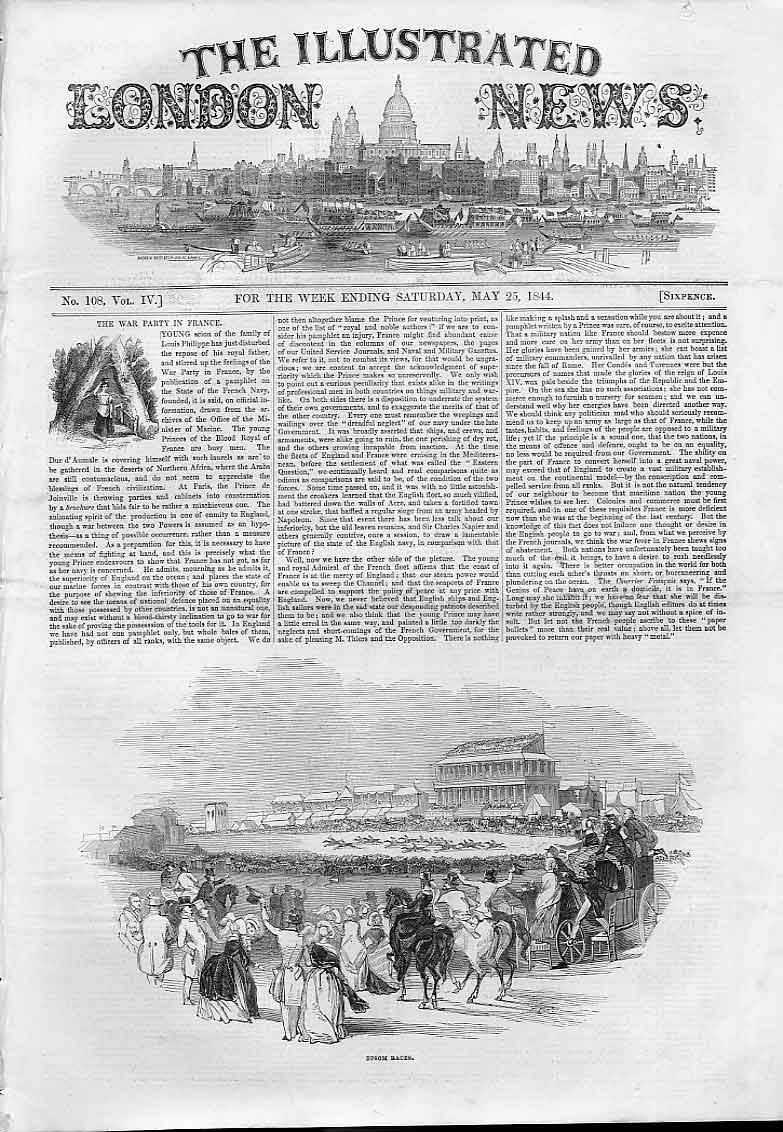 Print Epsom Races May 1844 Horse Racing 30Aaa0 Old Original