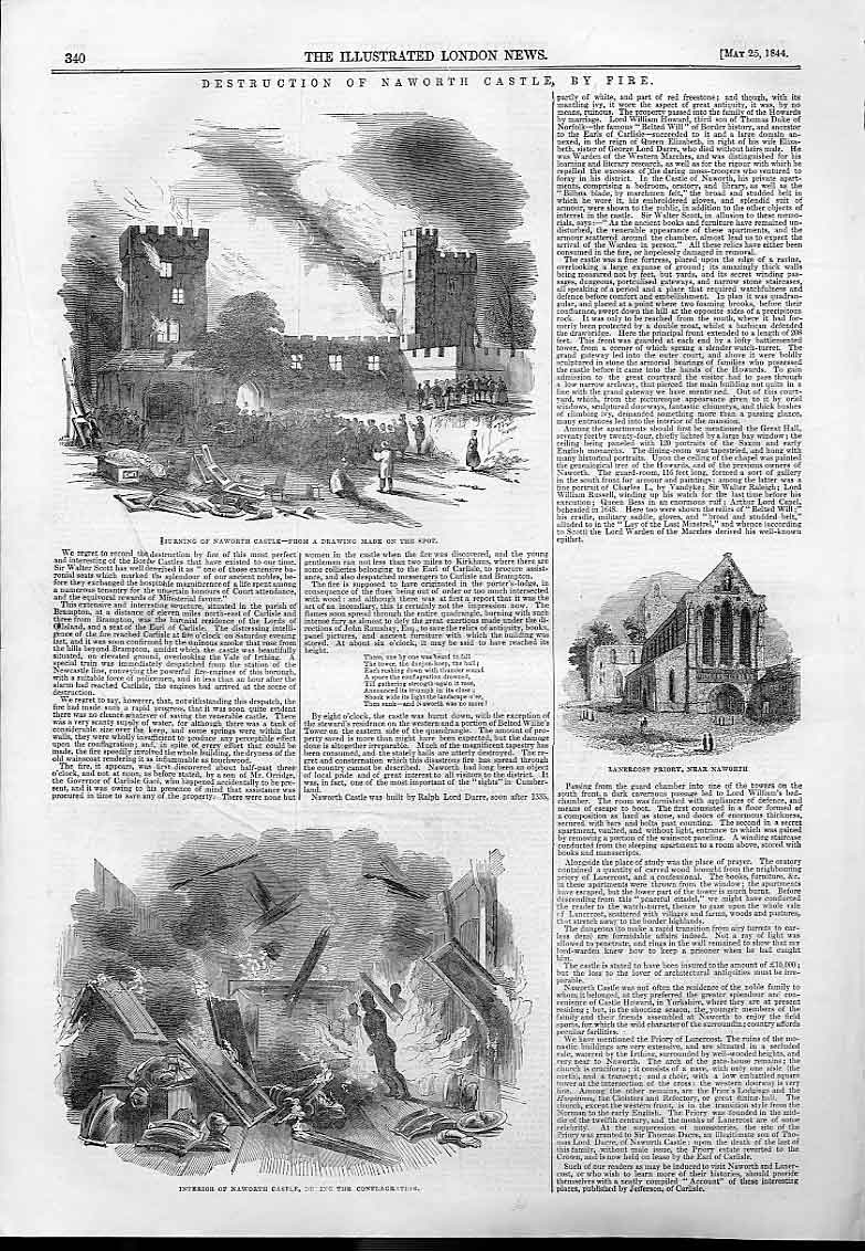 Print Destruction Narworth Castle By Fire 1844 40Aaa0 Old Original
