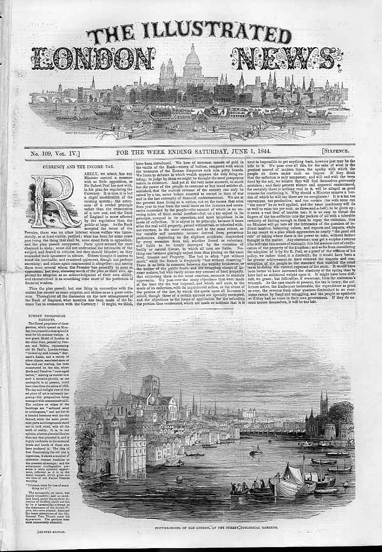 Print Picture Model London At Surry Zoo Gardens 1844 46Aaa0 Old Original