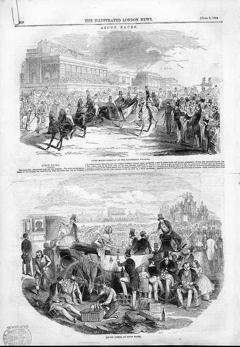 Print Ascot Races & Plate 1844 68Aaaa0 Old Original