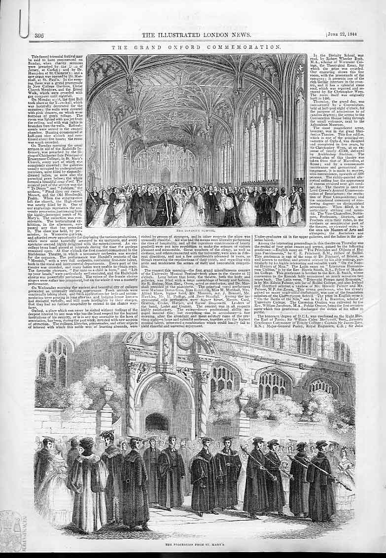 Print Grand Oxford Commemoration 1844 96Aaaa0 Old Original