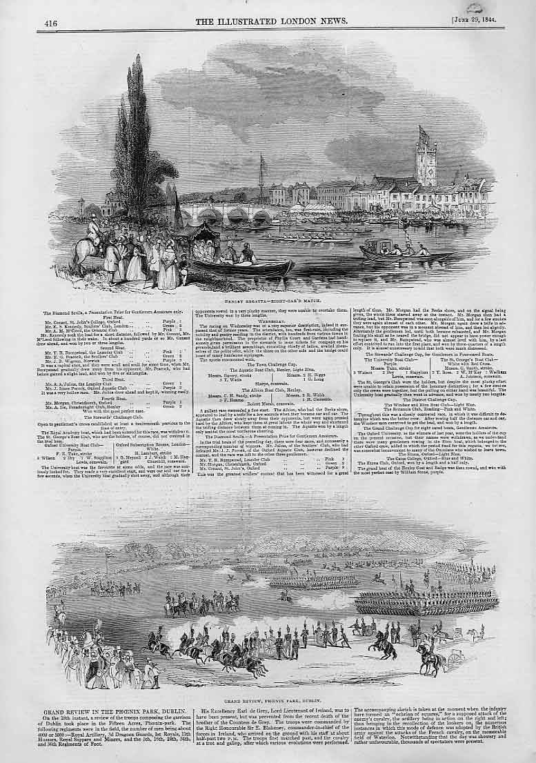 Print Grand Review Phoenix Park Dublin Ireland 1844 Henley 16Aaa0 Old Original