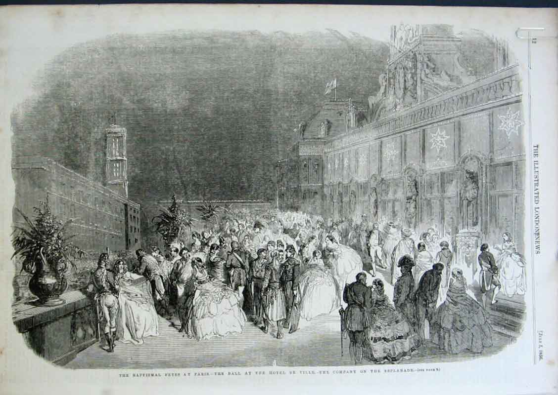 Print Baptismal Fetes Paris 1856 France 12Aaaa0 Old Original