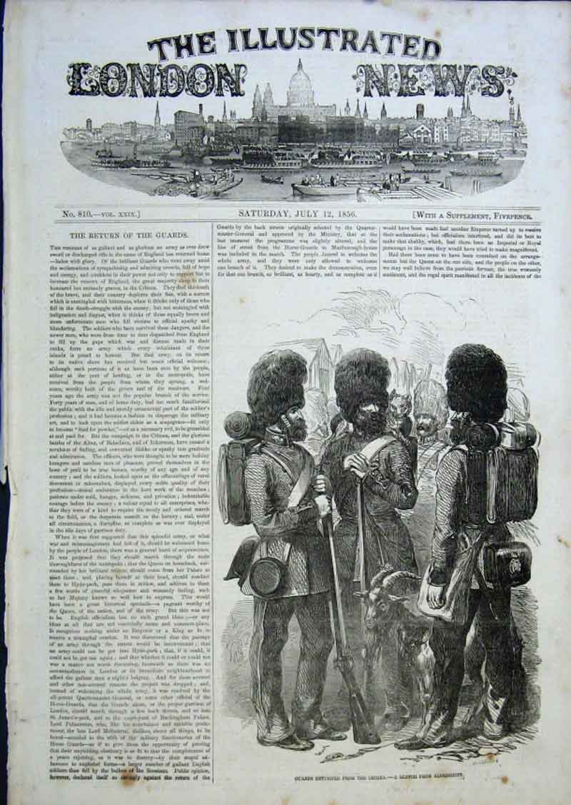 Print Guards Retruned From Crimea 1856 26Aaa0 Old Original
