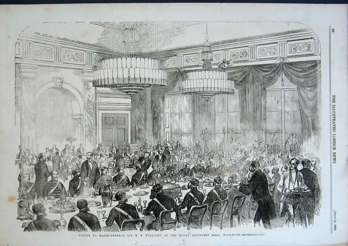 Print Dinner For Gen Williams Artillery Mess Woolwich 1856 28Aaa0 Old Original