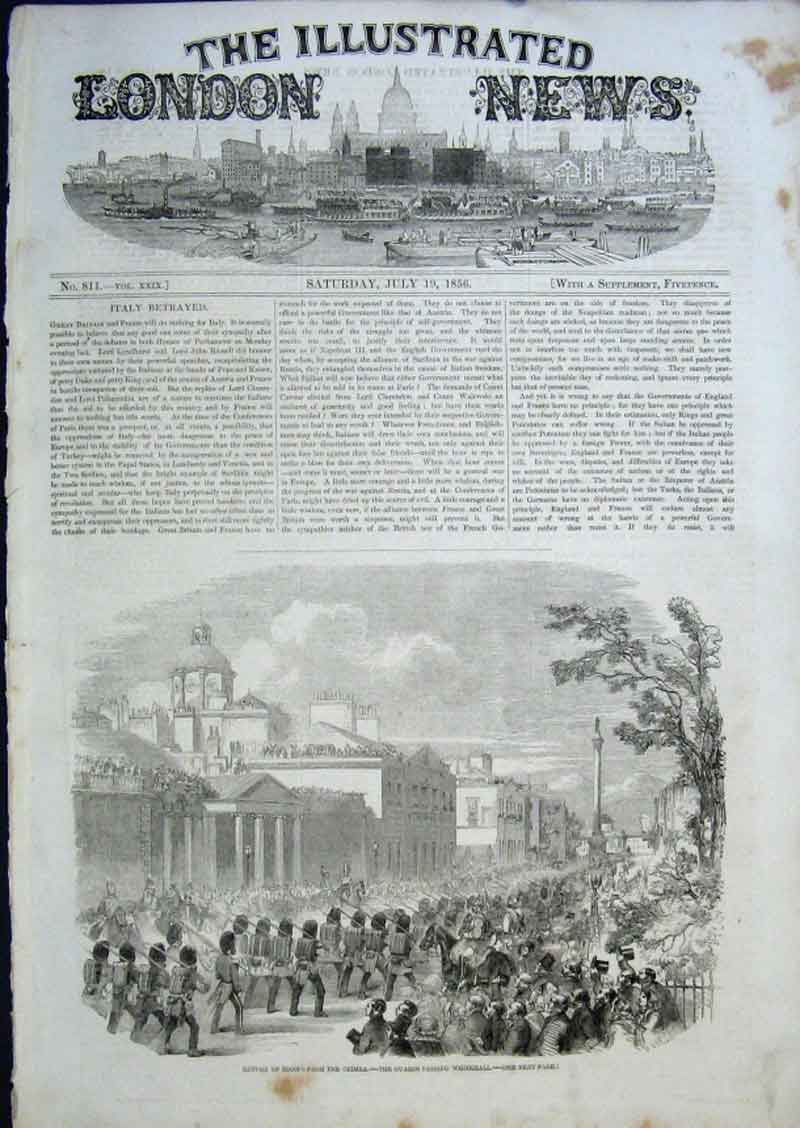 Print Guards Passing Whitehall 1856 56Aaa0 Old Original