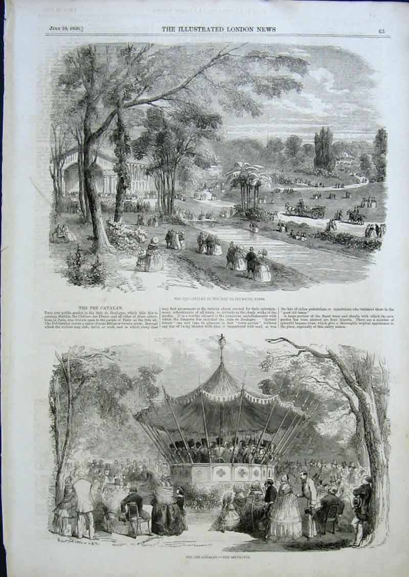 Print The Pre Catalan Bois De Boulogne Paris 1856 France 63Aaa0 Old Original