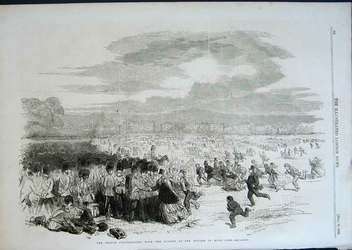 Print Fraternising With The Guards Hyde Park 1856 66Aaa0 Old Original