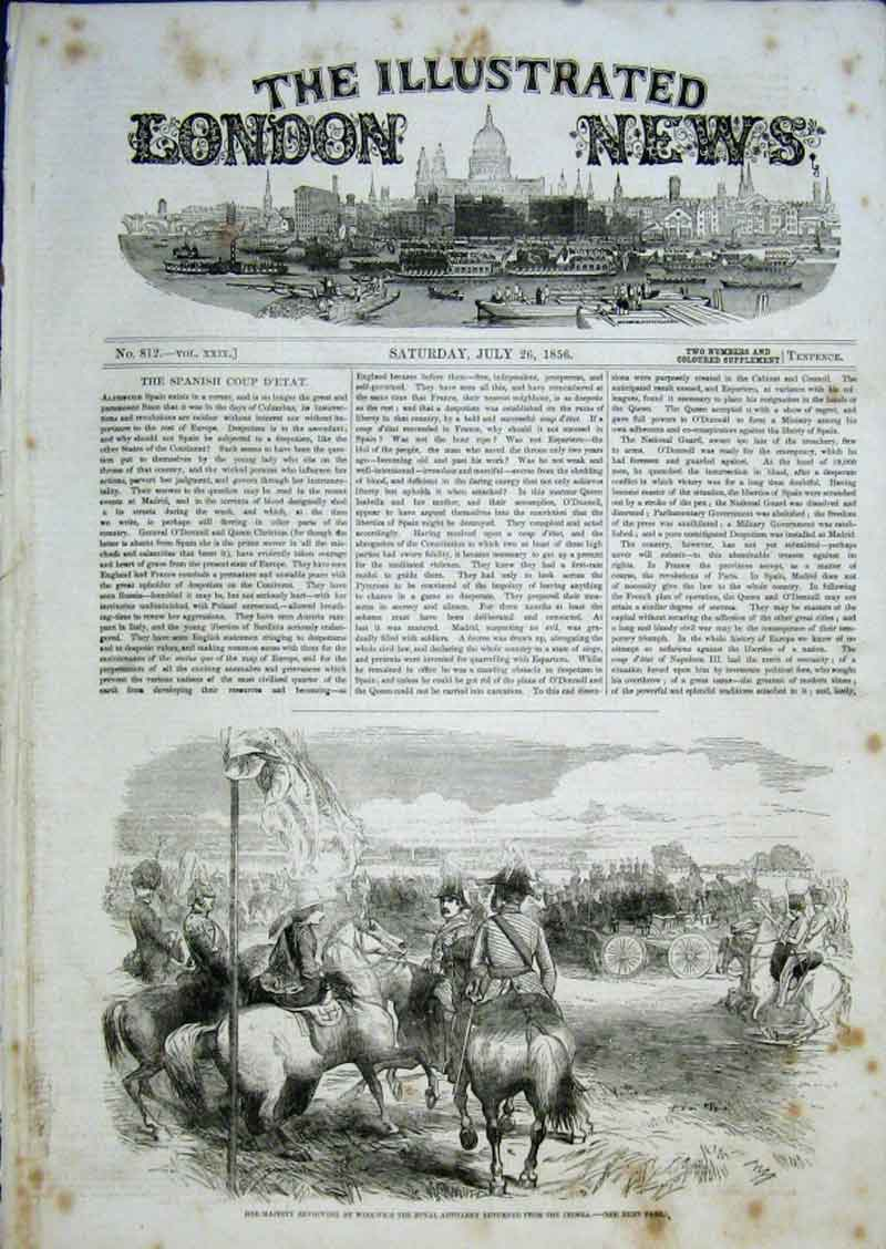 Print Queen Victoria Reviews Artillery At Woolwich 1856 80Aaa0 Old Original