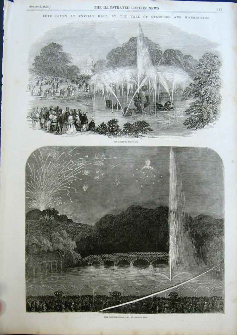 Print Fete & Illuninations Enville Hall By Earl Stamford 1856 15Aaa0 Old Original