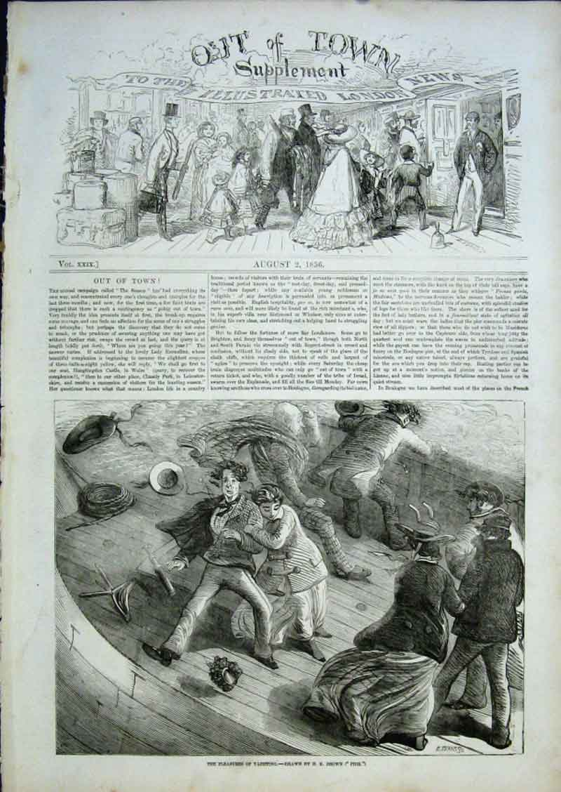 Print Out Town Pleasures Yachting 1856 28Aaa0 Old Original