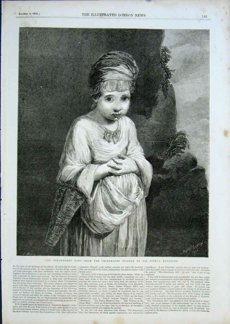 Print Strawberry Girl By J Reynolds Fine Art 1856 43Aaa0 Old Original