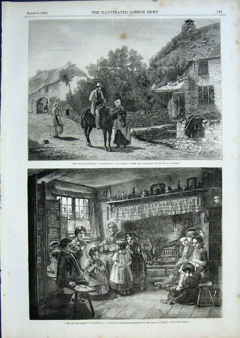 Print Village Postman & The Village School Fine Art 1856 47Aaa0 Old Original
