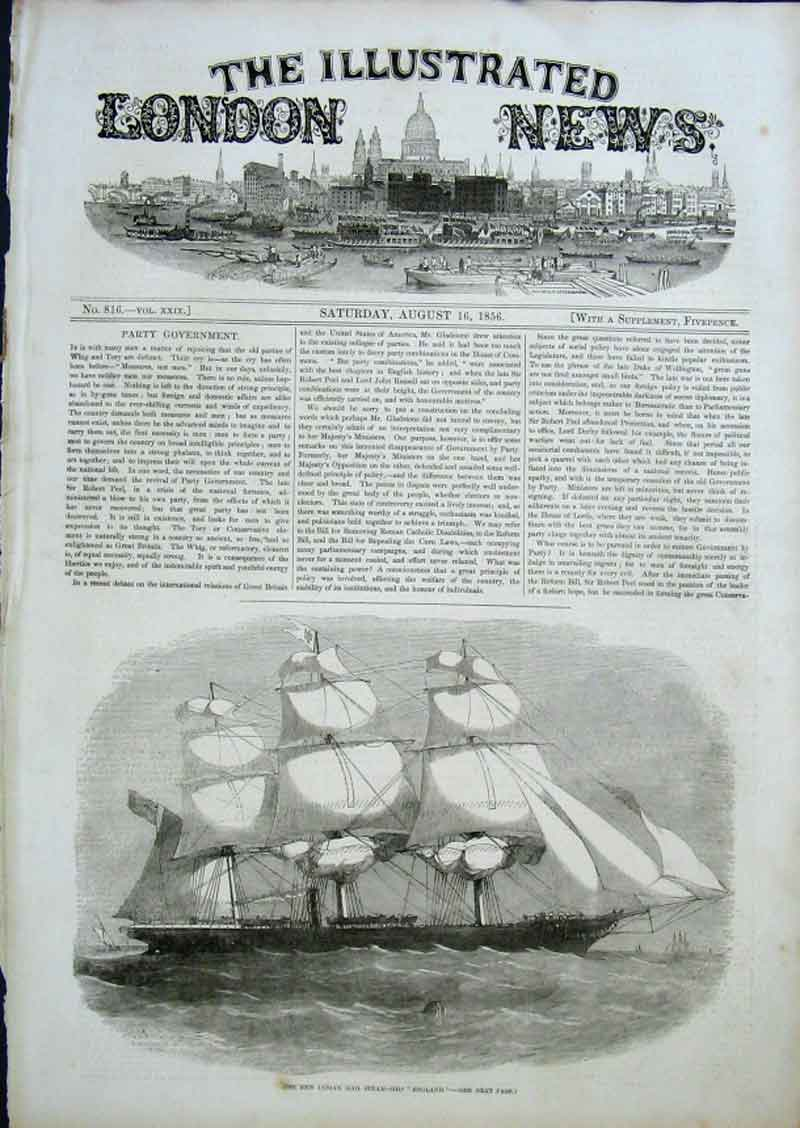 Print New Indian Mail Ship England 1856 60Aaa0 Old Original