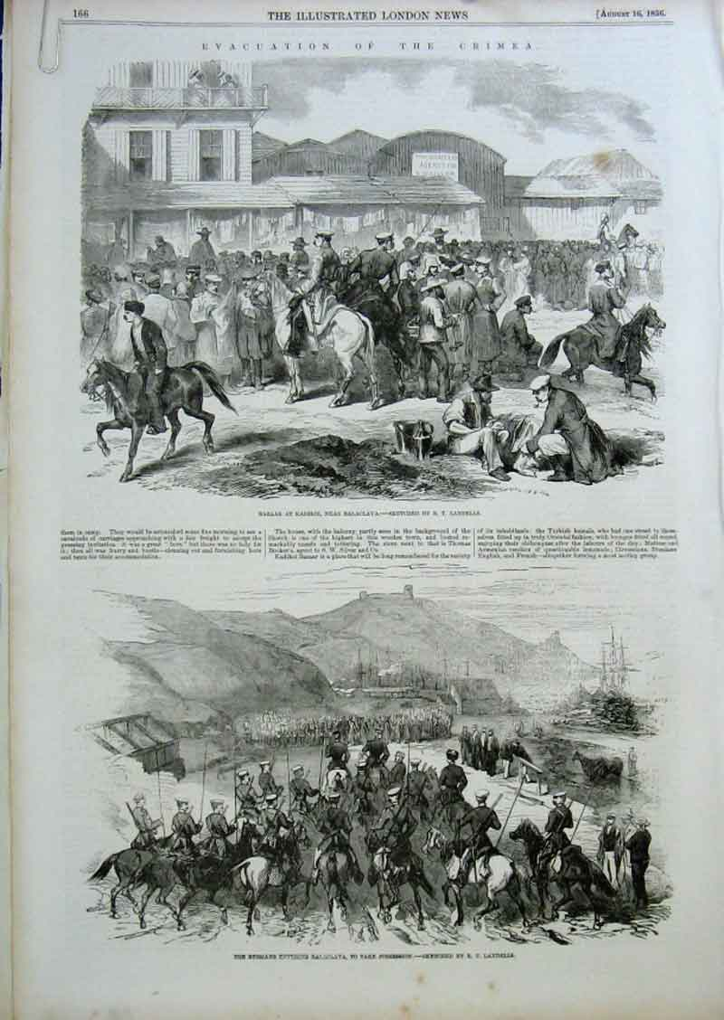 Print Evacuation The Crimea 1856 By Landells 66Aaaa0 Old Original