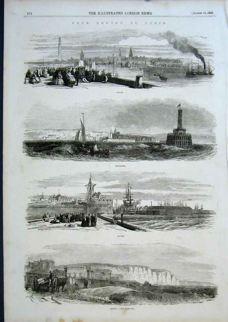 Print Routes To Paris Calais Bourlongehavredieppe 1856 74Aaa0 Old Original