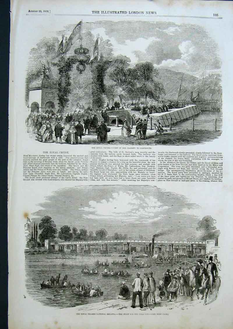 Print Queen Victoria Visits Dartmouth 1856 95Aaa0 Old Original