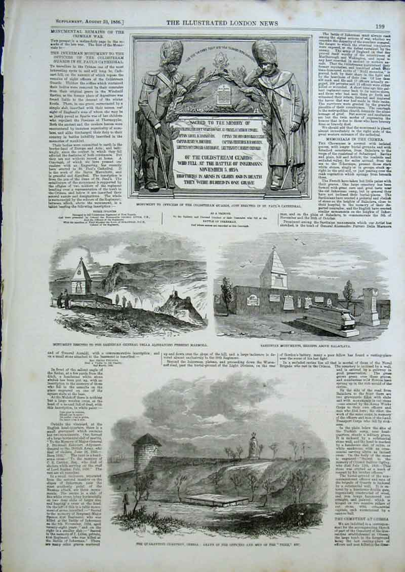 Print Monuments To Coldstream Guards 1856 & Sardinians 99Aaa0 Old Original