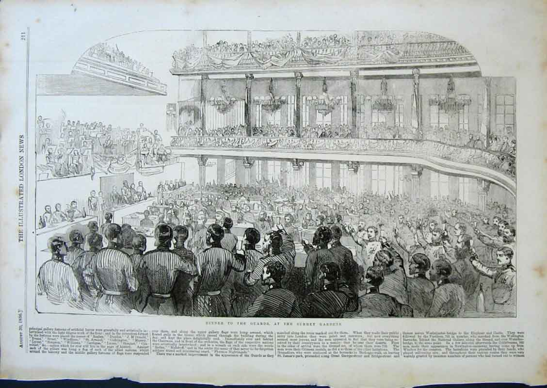 Print 1856 Dinner To The Guards At Surrey Gardens 11Aaa0 Old Original