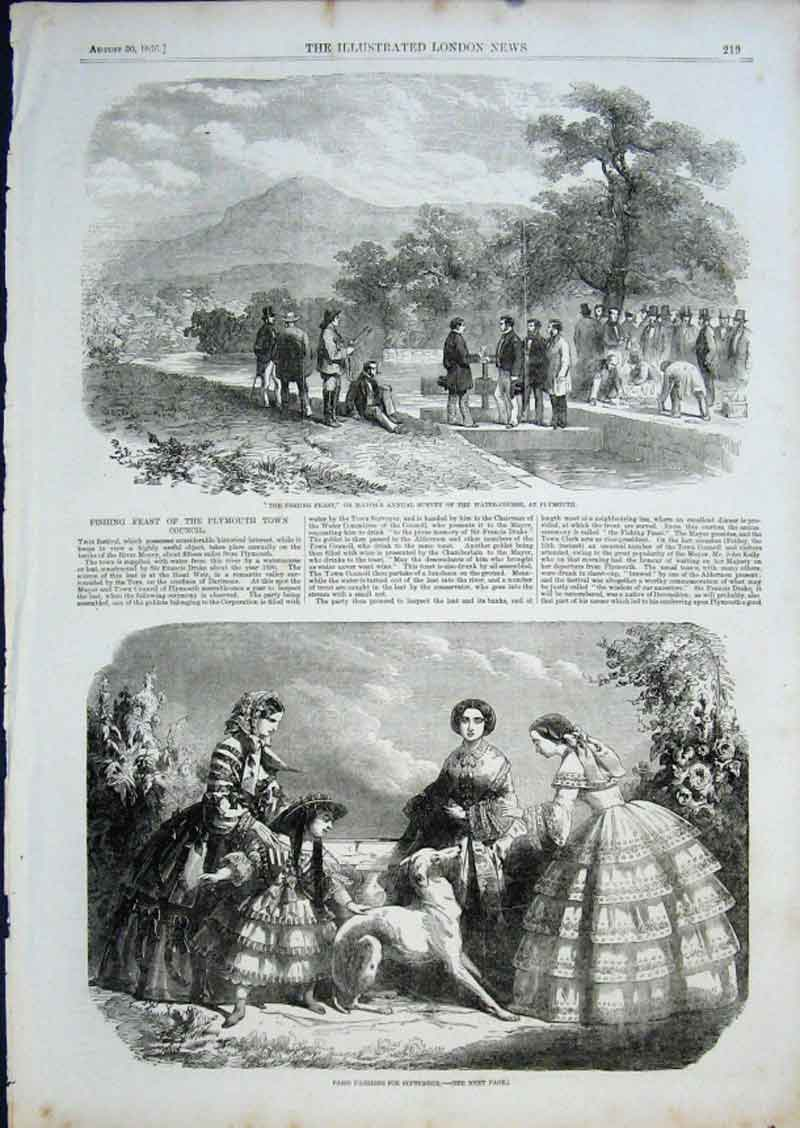 Print Fishing Feast Plymouth 1856 19Aaa0 Old Original