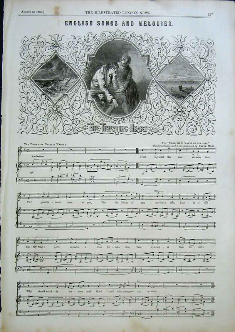 Print The Trusting Heart 1856 English Songs & Melod 27Aaa0 Old Original