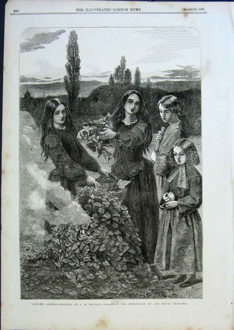 Print Autumn Leaves By Millais 1856 Fine Art 30Aaa0 Old Original