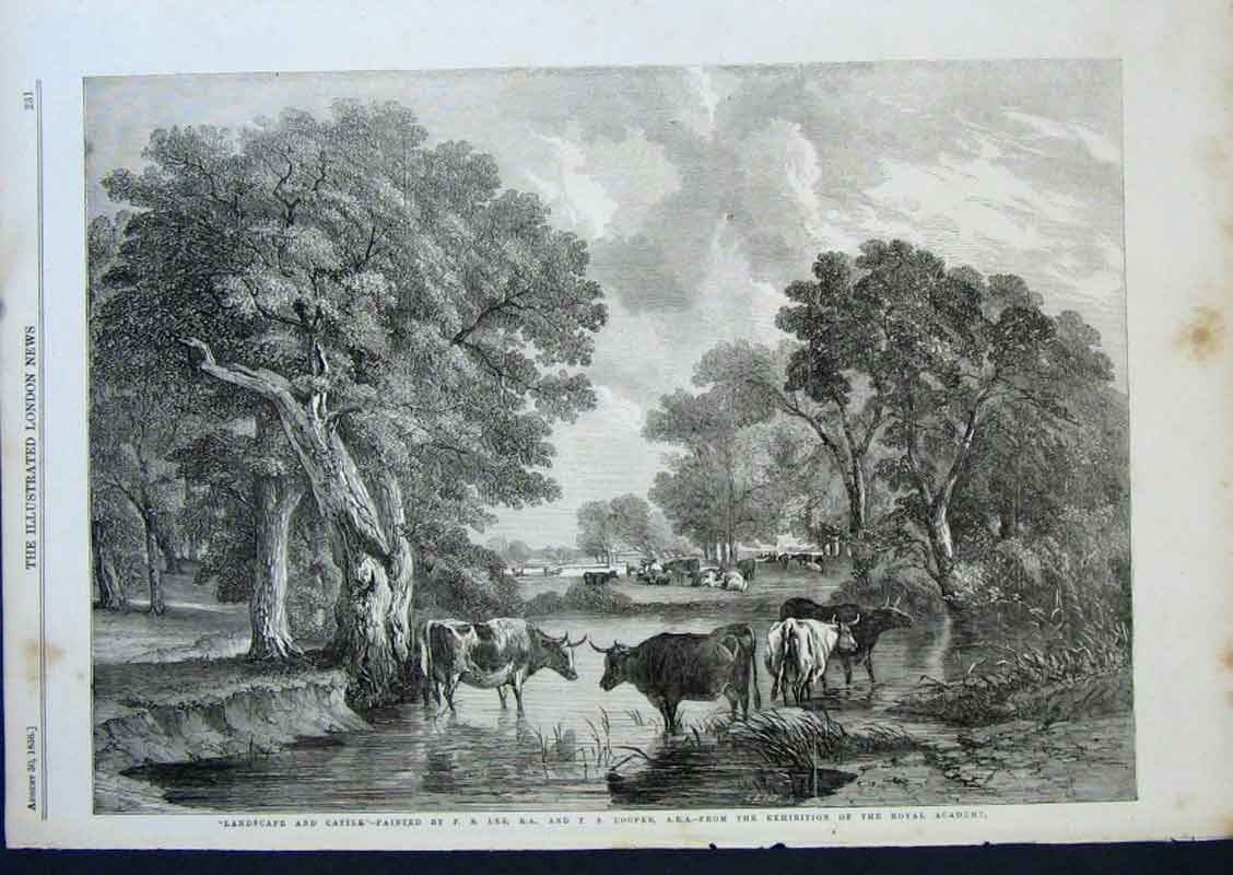 Print Landscape & Cattle By Lee & Cooper 1856 31Aaa0 Old Original