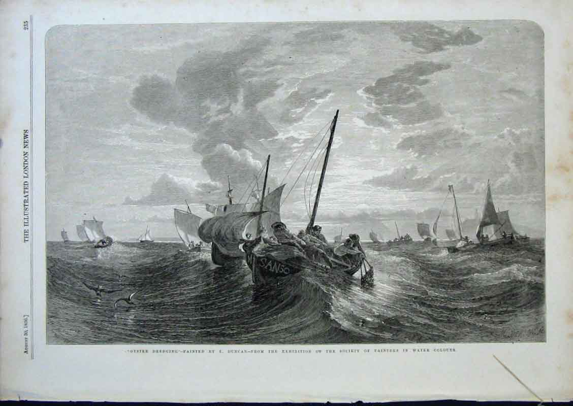 Print Oyster Dredging By Duncan 1856 Fine Art 35Aaa0 Old Original
