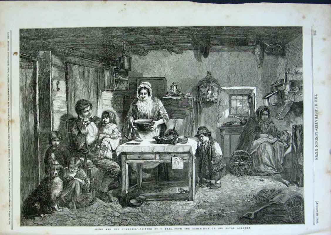 Print Home & Homeless By Faed 1856 Fine Art 38Aaa0 Old Original