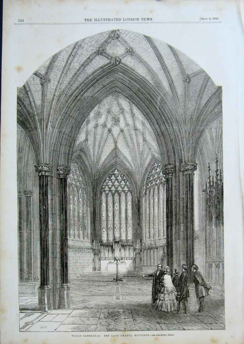 Print Wells Cathedral The Lady Chapel Restored 1856 42Aaa0 Old Original