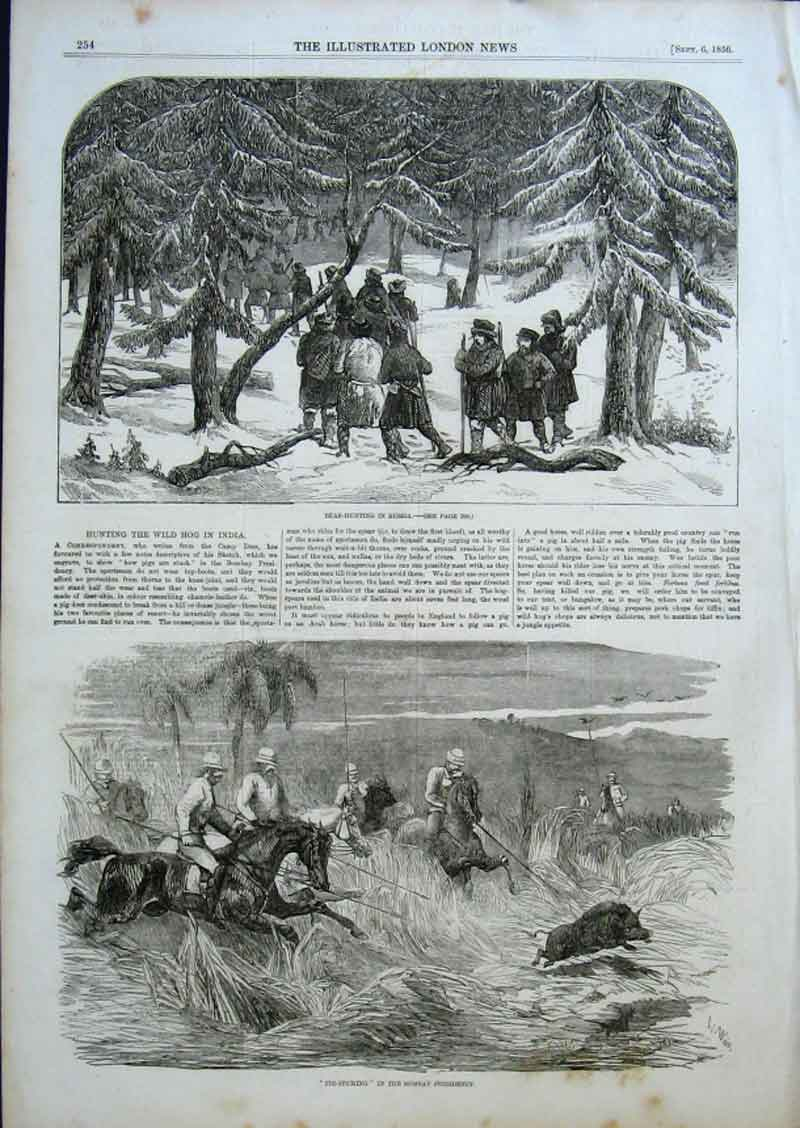 Print Bear Hunt Russia 1856 Pig Sticking Bombay Ind 54Aaa0 Old Original