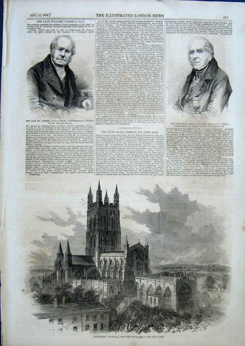 Print Gloucester Cathedral 1856 75Aaa0 Old Original