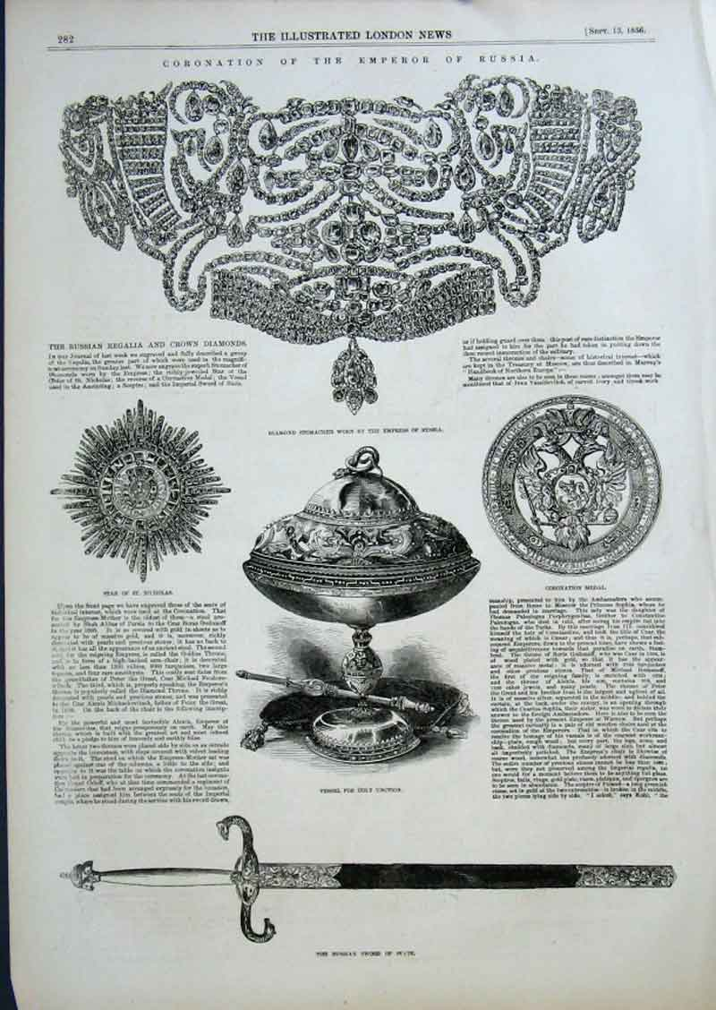 Print Russian Regalia & Crown Diamonds 1856 Coronation 82Aaa0 Old Original