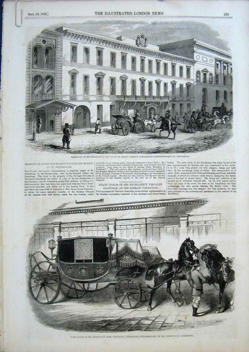 Print French Ambassador Residence Moscow 1856 91Aaaa0 Old Original