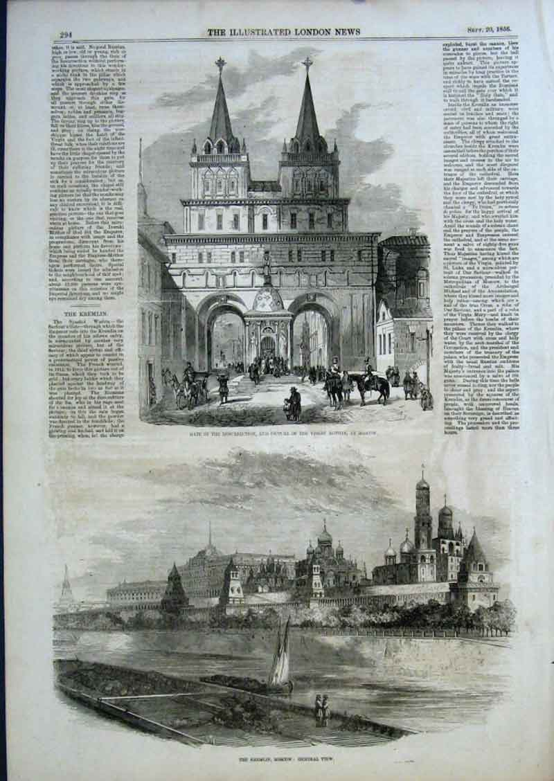 Print Gate Resurection & Picture Virgin Mother Moscow 1856 94Aaa0 Old Original