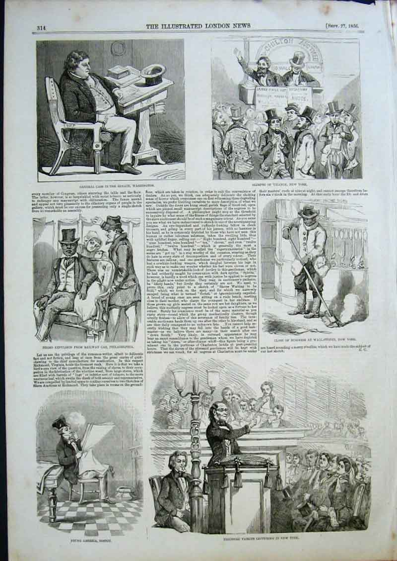 Print Sketches Life & Change America 1856 14Aaa0 Old Original