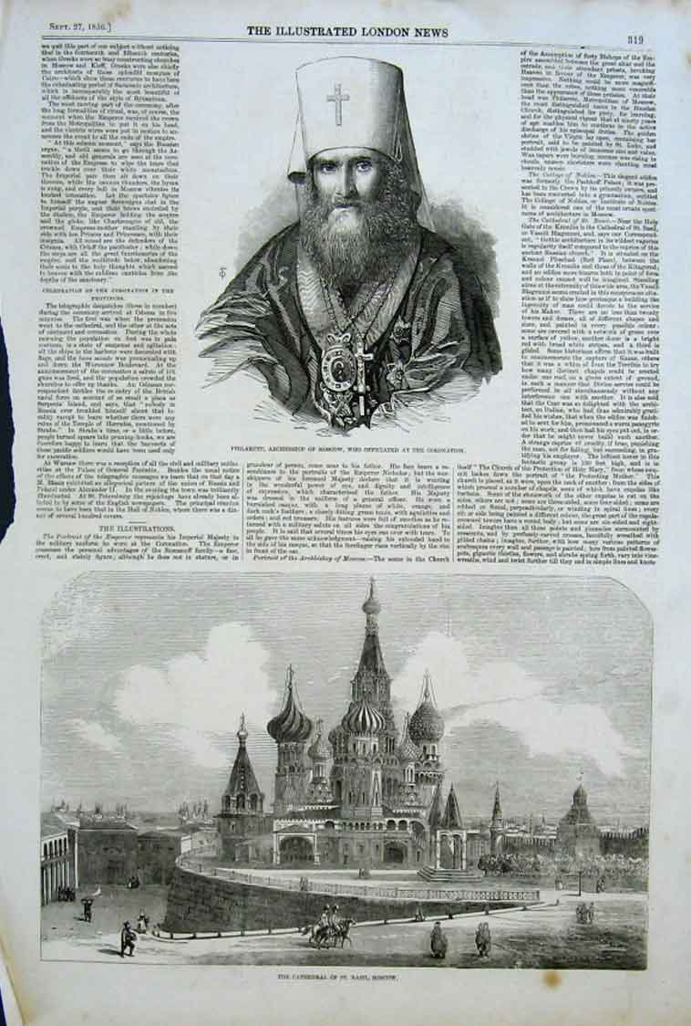 Print Philarete Archbishop Moscow Cathedral St Basil 1856 19Aaa0 Old Original