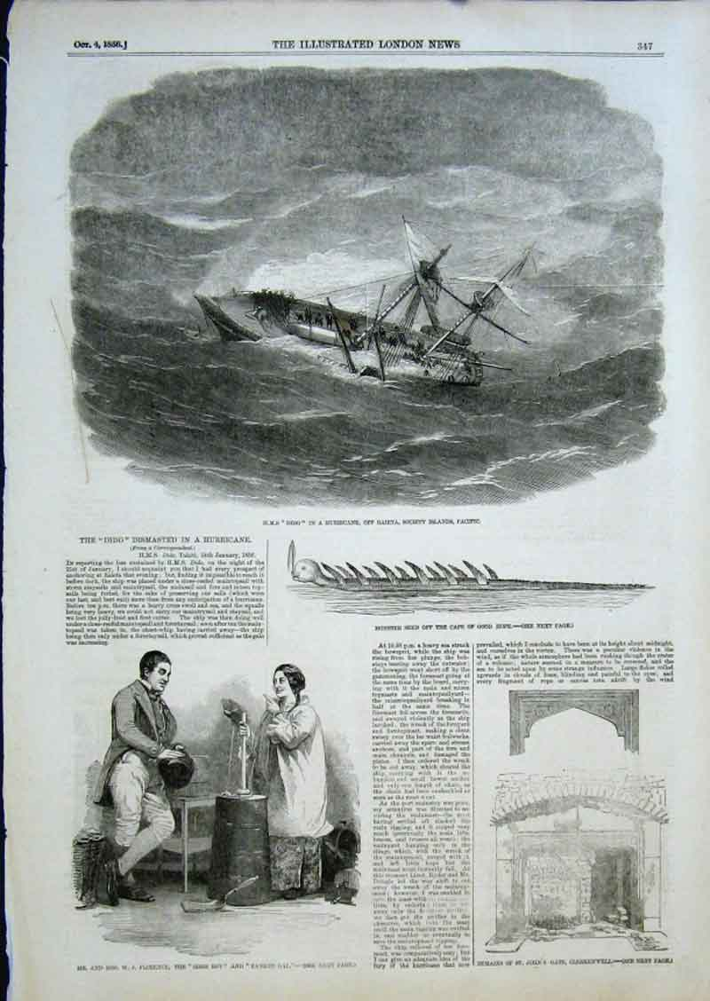 Print Hms Dido Dismasted In Hurricane Monster Seen Off Cape 47Aaa0 Old Original