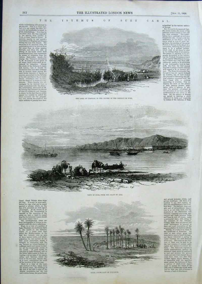 Print The Ismus Suez Canal 1856 62Aaa0 Old Original