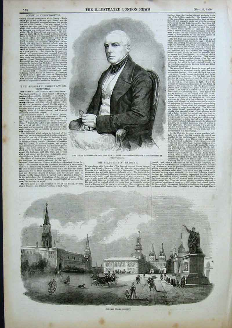 Print Count De Chreptowitch Red Place Moscow 1856 78Aaa0 Old Original