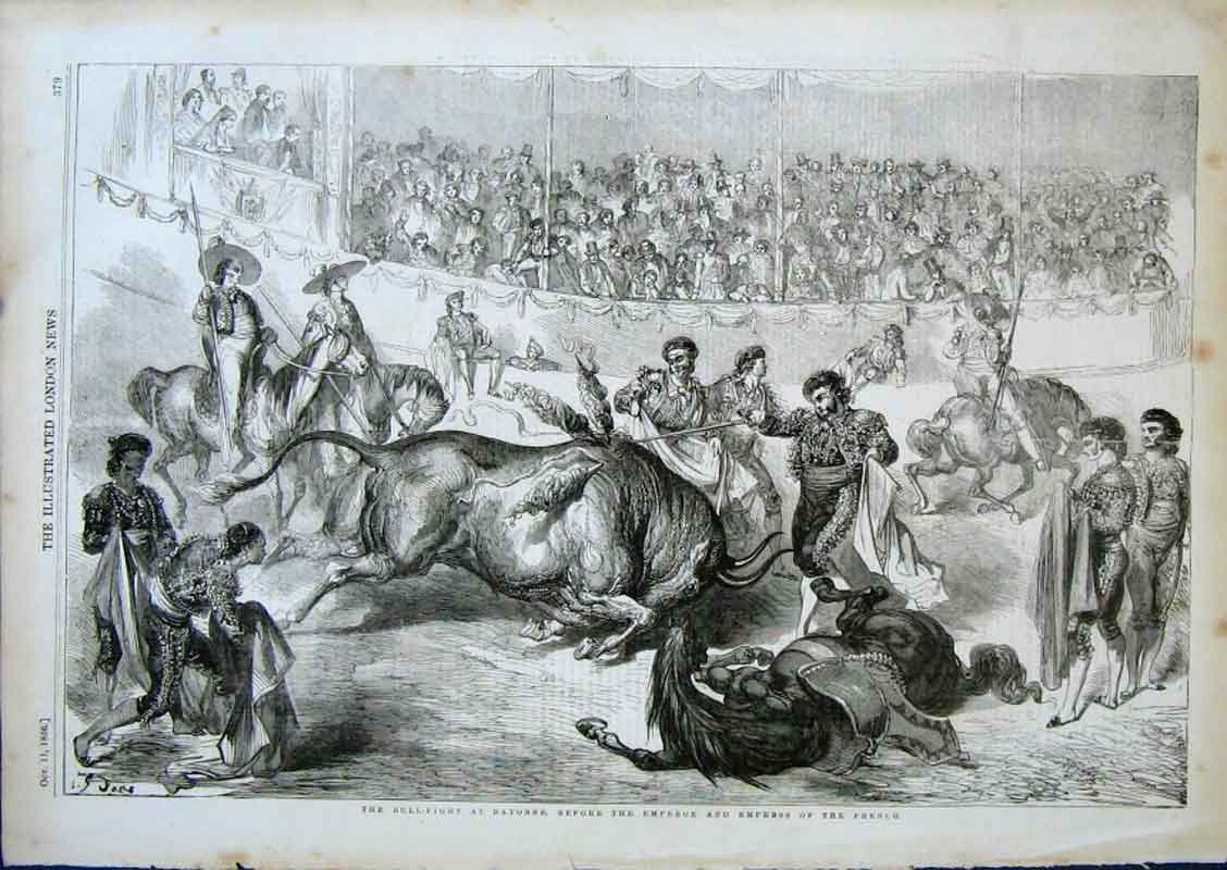 Print The Bullfight At Bayonne Before Emperor French 79Aaa0 Old Original