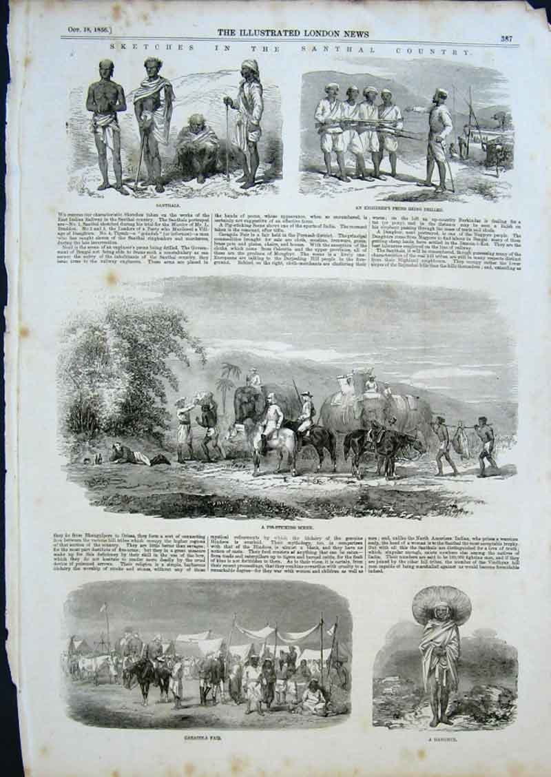 Print Sketches Snathal Country India 1856 Fair Pig Sticking 87Aaa0 Old Original
