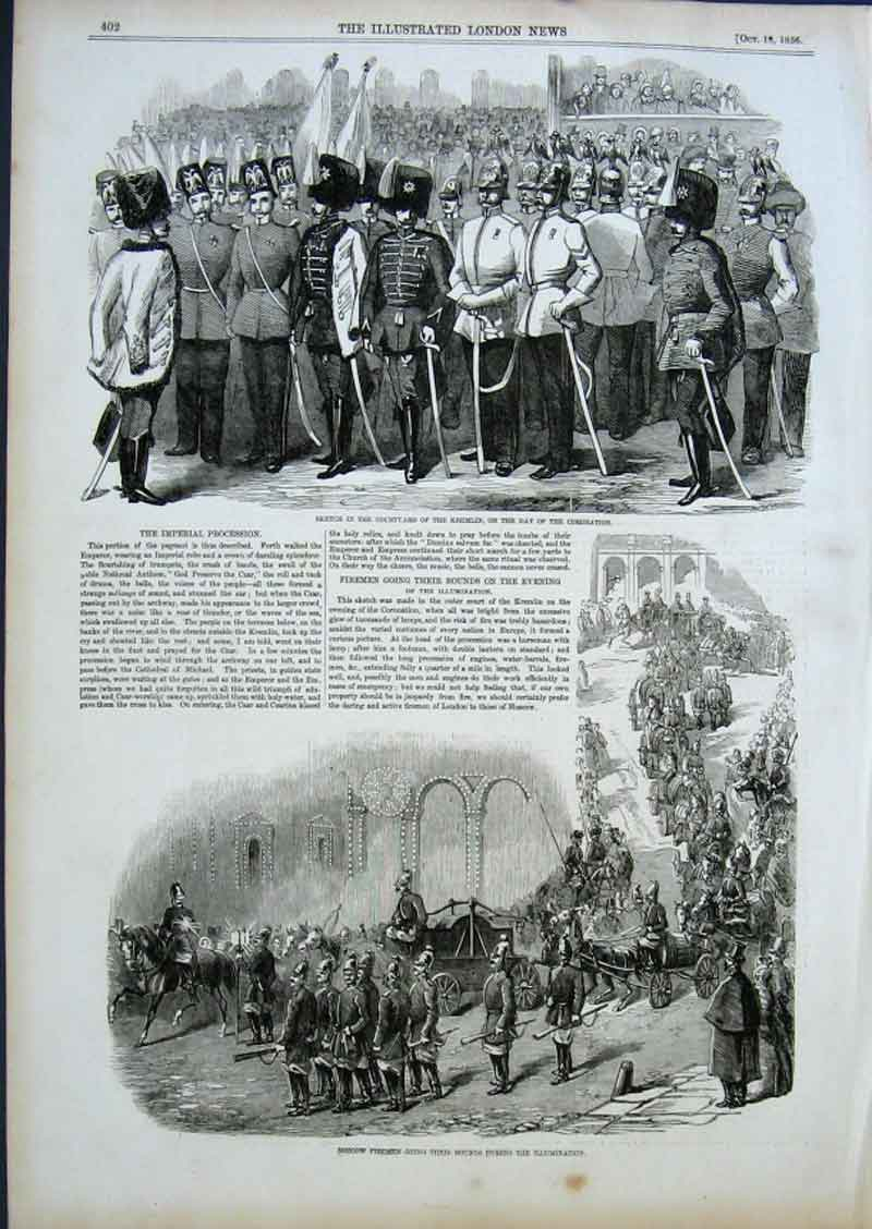 Print Moscow Firemen Going The Rounds 1856 02Aaa0 Old Original