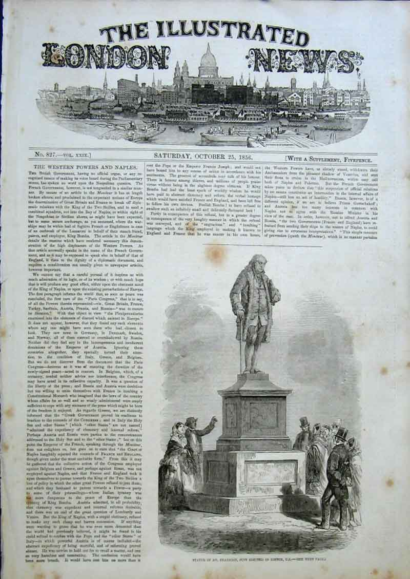 Print Statue Dr Franklin Boston Usa 1856 16Aaa0 Old Original