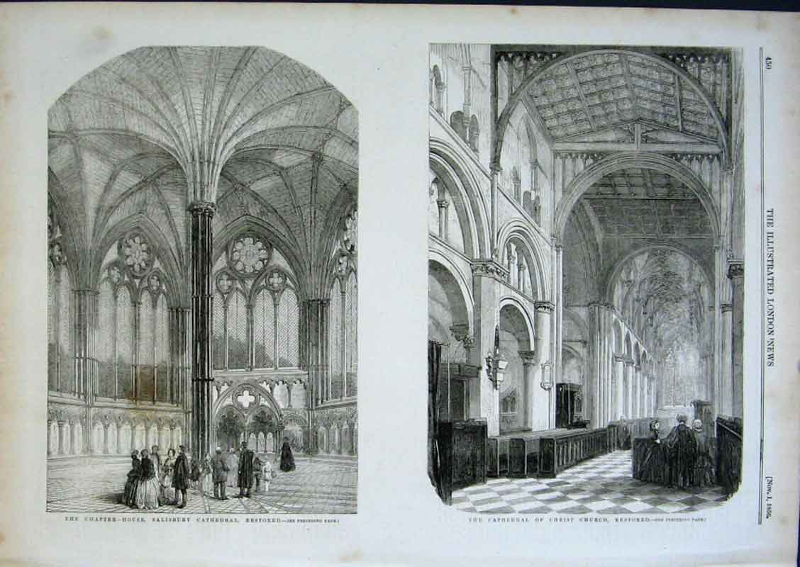 Print Salisbury Cathedral & Cathedral Christ Church Restored 50Aaa0 Old Original