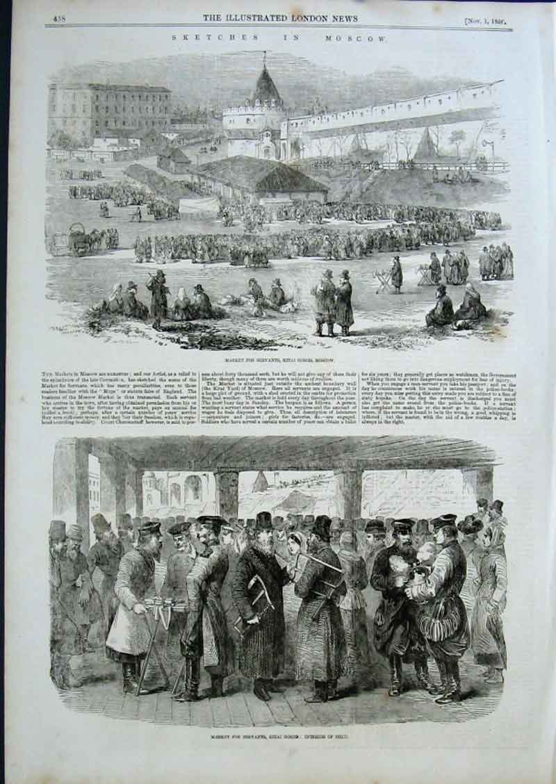 Print Market For Servants Kitai Ground Moscow 1856 58Aaa0 Old Original