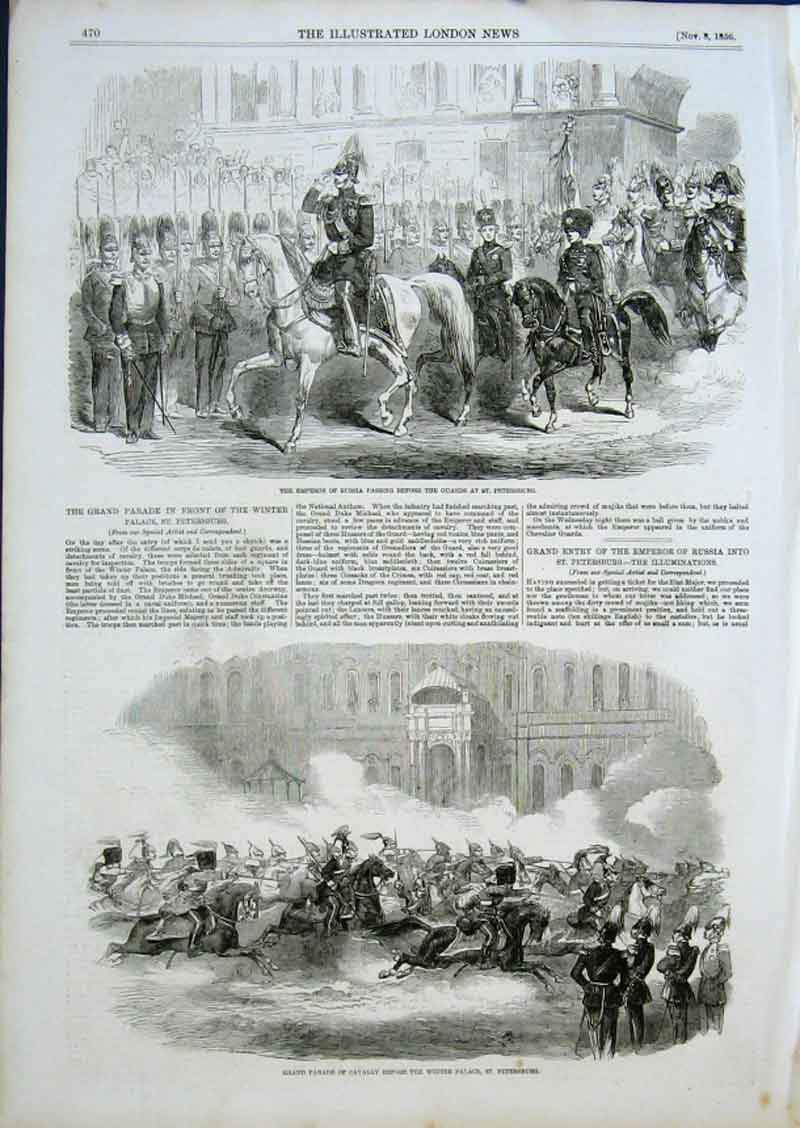 Print Emperor Russia Passin The Guards & Cavalry St Petersbur 70Aaa0 Old Original