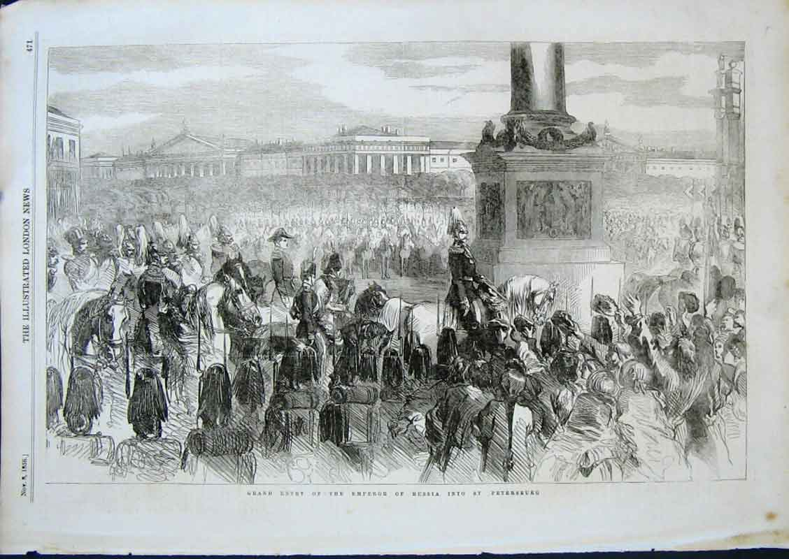 Print Entry Emperor Russia Into St Petersburg 1856 71Aaa0 Old Original