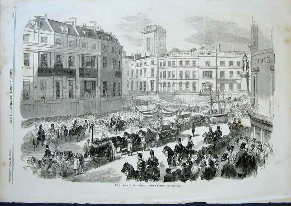 Print London Procession Lord Mayors Day 1856 03Aaa0 Old Original